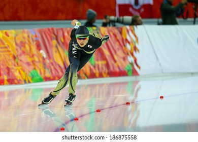 Sochi, RUSSIA - February 19, 2014: Shiho ISHIZAWA (JPN) on lane during Speed Skating. Ladies' 5000 m at the Sochi 2014 Olympic Games