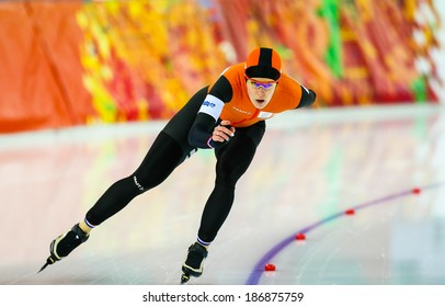 Sochi, RUSSIA - February 19, 2014: Ireen WUST (NED) on lane during Speed Skating. Ladies' 5000 m at the Sochi 2014 Olympic Games