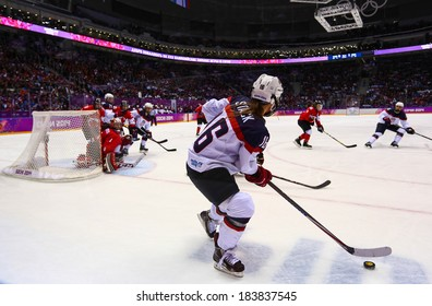 Sochi, RUSSIA - February 20, 2014: Kelli STACK (USA) at Canada vs. USA Ice hockey Women's Gold Medal Game at the Sochi 2014 Olympic Games