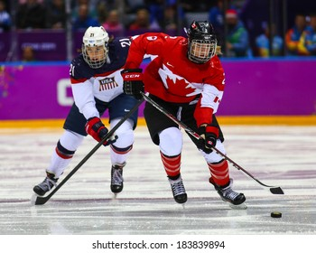 Sochi, RUSSIA - February 20, 2014: Meghan AGOSTA (CAN) at Canada vs. USA Ice hockey Women's Gold Medal Game at the Sochi 2014 Olympic Games