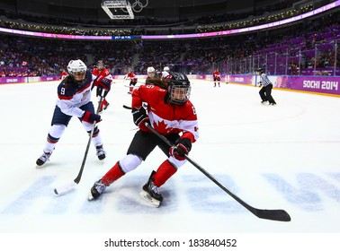 Sochi, RUSSIA - February 20, 2014: Rebecca JOHNSTON (CAN) at Canada vs. USA Ice hockey Women's Gold Medal Game at the Sochi 2014 Olympic Games