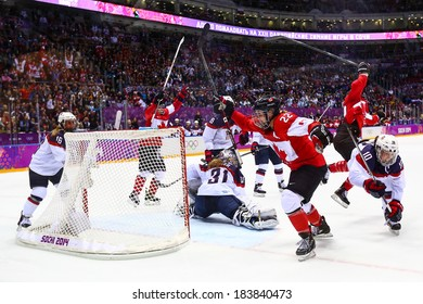 Sochi, RUSSIA - February 20, 2014: Marie-Philip POULIN (CAN) at Canada vs. USA Ice hockey Women's Gold Medal Game at the Sochi 2014 Olympic Games