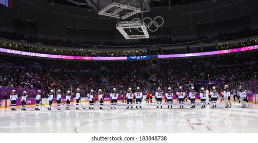 Sochi, RUSSIA - February 20, 2014: Ice hockey. Canada vs. USA Women's Gold Medal Game at the Sochi 2014 Olympic Games