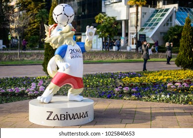 SOCHI, RUSSIA - FEBRUARY,  2018 The official mascot of the 2018 FIFA World Cup and the FIFA Confederations Cup 2017 wolf Zabivaka.