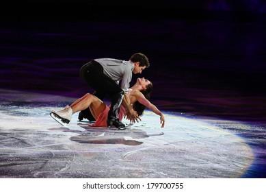 Sochi, RUSSIA - February 22, 2014: Tessa VIRTUE and Scott MOIR at Figure Skating Exhibition Gala at Sochi 2014 XXII Olympic Winter Games