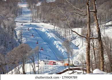 SOCHI, RUSSIA  - FEBRUARY 25, 2014: Russian Championship Half-pipe and Snowboard Cross
