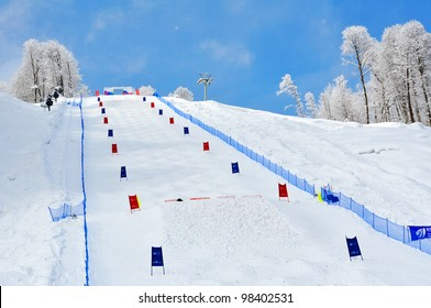 SOCHI, RUSSIA - FEBRUARY 27: Ski trail for mogul, will host the 2014 Olympic Games 27, 2012 in Sochi, Russia