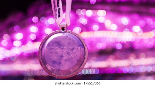 Sochi, RUSSIA  February 7, 2014: Spectator medal of Sochi 2014 XXII Olympic Winter Games