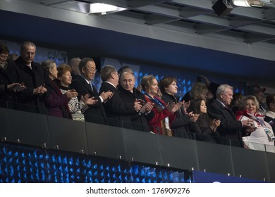 SOCHI, RUSSIA- February 7th: Russian President Vladimir Putin watches the Olympic opening ceremonies in Fisht stadium on February 7th 2014 in Sochi Russia.
