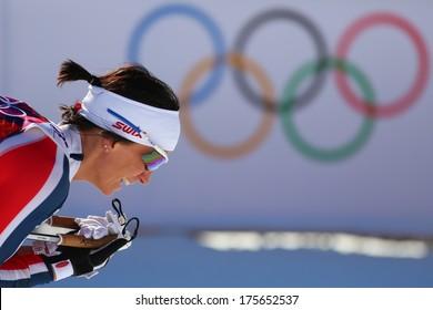Sochi, RUSSIA -?? February 8, 2014: Marit BJOERGEN wins  in ladies' Skiathlon 7.5 km Classic + 7.5 km Free of Sochi 2014 XXII Olympic Winter Games