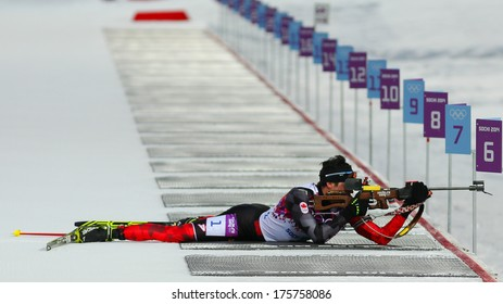 Sochi, RUSSIA - February 9, 2014: Nathan SMITH (CAN) during Biathlon Men's Sprint 10 km competition at Sochi 2014 XXII Olympic Winter Games