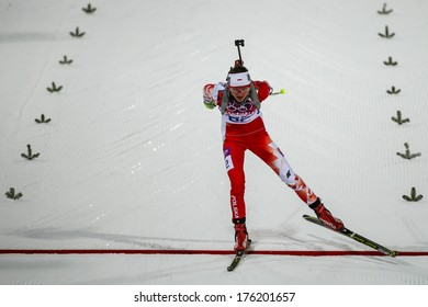 Sochi, RUSSIA - February 9, 2014: Monika HOJNISZ (POL) at Biathlon Women's 7.5 km Sprint at Sochi 2014 XXII Olympic Winter Games