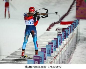 Sochi, RUSSIA - February 9, 2014: Yana ROMANOVA (RUS) at Biathlon Women's 7.5 km Sprint at Sochi 2014 XXII Olympic Winter Games