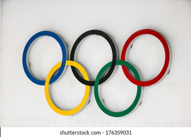 Sochi, RUSSIA - February 9, 2014: Olympic rings above shooting range during Biathlon Women's 7.5 km Sprint at Sochi 2014 XXII Olympic Winter Games