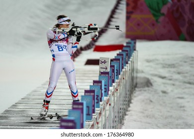 Sochi, RUSSIA - February 9, 2014: Anais CHEVALIER (FRA) at Biathlon Women's 7.5 km Sprint at Sochi 2014 XXII Olympic Winter Games