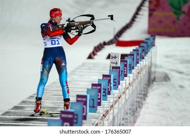 Sochi, RUSSIA - February 9, 2014: Yana ROMANOVA (RUS) at Biathlon Women's 7.5 km Sprint at Sochi 2014 XXII Olympic Winter Games