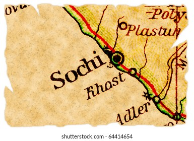 Sochi, Russia, host of the Winter Olympics 2014 on an old torn map from 1949, isolated. Part of the old map series.