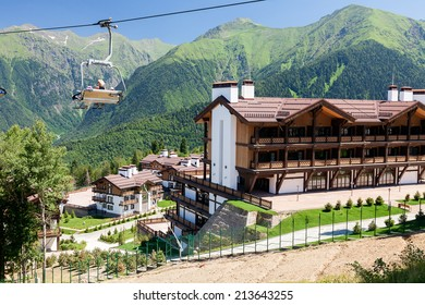 SOCHI, RUSSIA - JULY 11:  resort of Krasnaya Polyana in Sochi 11 July 2014 welcomed the participants and guests of the Olympic and Paralympic Winter Games in 2014.