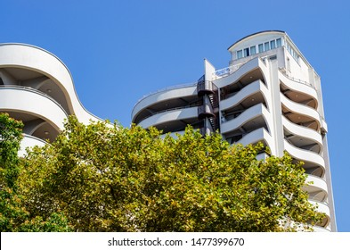 Sochi, Russia - July 20, 2019: apartments on Deputatskaya Street. The building has beautiful balconies. Conceptual architecture. Smoothly curved facade