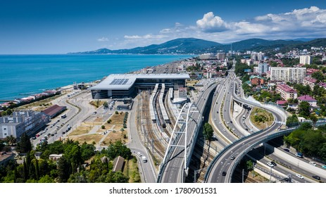 Sochi, Russia - JULY 20, 2020: aerial view from above. Sochi railway station, Adler. RZD.