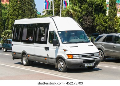 SOCHI, RUSSIA - JULY 26, 2009: Passenger van Iveco Daily in the city street.