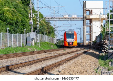 "Sochi, Russia - July 28, 2019: the Movement of the train with the inscription ""Russian Railways"" by rail"