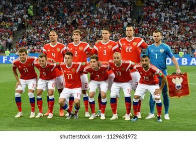 Sochi, Russia - July 7, 2018. National team of Russia before FIFA World Cup 2018 quarter-final Russia vs Croatia
