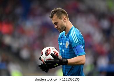 Sochi, Russia - July 7, 2018. Russian national football team goalkeeper Igor Akinfeev during World Cup Quarter-final Russia vs Croatia