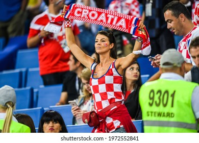 Sochi, Russia – July 7, 2018. Beautiful Croatian fan girl at FIFA World Cup 2018 quarter-final Russia vs Croatia in Sochi.