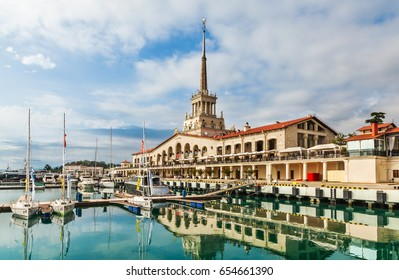 Sochi, Russia - June 04, 2015: Sochi passenger port and marina from seaside.