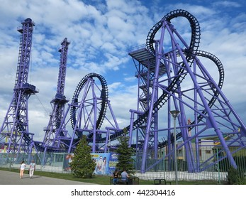 """SOCHI, RUSSIA - JUNE 10, 2016: Attraction """"Russian hills"""" in the Olympic Park"""