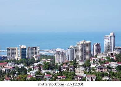 SOCHI, RUSSIA - JUNE 11, 2015. View to new buildings of the city