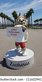 Sochi, Russia, June 11, 2018: Funny wolf, the mascot of the FIFA World Cup in Russia
