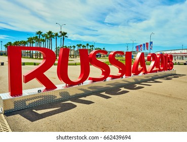 "SOCHI, RUSSIA - JUNE 18, 2017: Installation of the inscription ""RUSSIA 2018"" symbolizes the FIFA World Cup in the Olympic Park of Sochi"