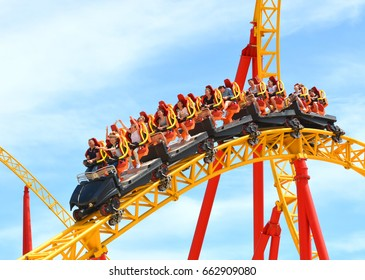 "SOCHI, RUSSIA - June 18, 2017: Extreme entertainment - ""roller coaster"" Snake Gorynych in Sochi Park, which entered the TOP-25 of the best parks in Europe in 2016"