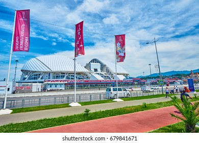 """SOCHI, RUSSIA - JUNE 18, 2017: Stadium """"Fisht"""" in the Olympic Park.Football stadium decorated with symbols of the FIFA Confederations Cup"""