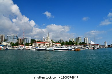 Sochi, Russia - June 2. 2018. View from sea to seaport building