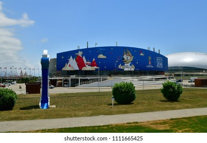 Sochi, Russia - June 2. 2018. Ice cube is sports complex decorated to FIFA world cup in Olympic Park