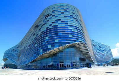 SOCHI, RUSSIA - JUNE  20: Finishing facade of ice rink for figure skating on June 20, 2013 in Sochi, Russia for Winter Olympic Games 2014