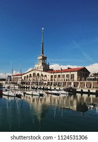 Sochi, Russia, June 2018 - Commercial sea port of luxury yachts, motor and sailing boats, seaport in Black Sea at sunset. Instagram concept. Editorial use only.