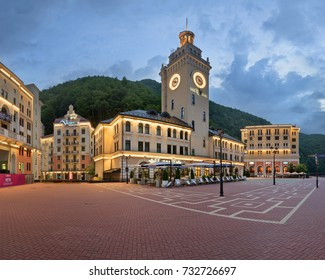 SOCHI, RUSSIA - JUNE 22, 2017: Panorama of Rosa Square, Rosa Khutor, Sochi, Russia. Rosa Khutor constructed from 2003 to 2011 and hosted the alpine skiing events for the 2014 Winter Olympics.