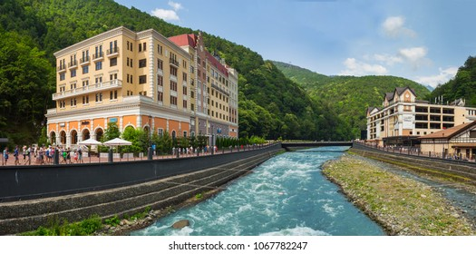 "SOCHI, RUSSIA - JUNE 23, 2016: The resort ""Rosa Khutor"" in Sochi, Rose Farm ski resort, here are the hotels where living participants and guests of the Winter Olympic Games 2014"