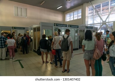 Sochi, Russia - June 3. 2018. People pass passport control on state border with Abkhazia