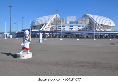 "SOCHI, RUSSIA - JUNE 5, 2017: Stadium ""Fisht"" and the mascot of the World Cup 2018 Zabivaka in the Olympic Park. Here will be held FIFA Confederation Cup 2017 and FIFA World Cup 2018"