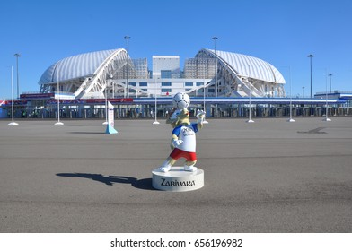 "SOCHI, RUSSIA - JUNE 5, 2017: The mascot of the World Cup 2018 Zabivaka in front of the stadium ""Fisht"". At the stadium ""Fisht"" will be held matches FIFA confederations cup 2017 and FIFA World Cup2018"