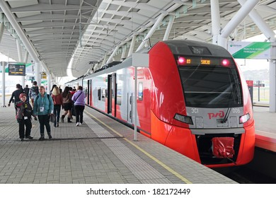 SOCHI, RUSSIA - MAR 8, 2014: Railway station Olympic Park, Sochi, Krasnodar Krai, venue for the 2014 winter Olympics