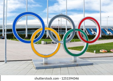 Sochi / Russia - March 06, 2018: Olympic rings in the Olympic Park in Sochi.