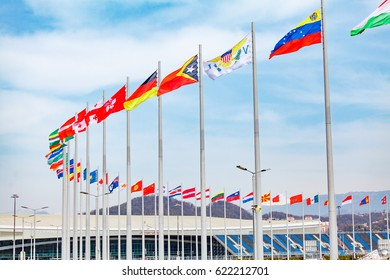 Sochi, Russia, March 11, 2017: View of flags of Olympic park.