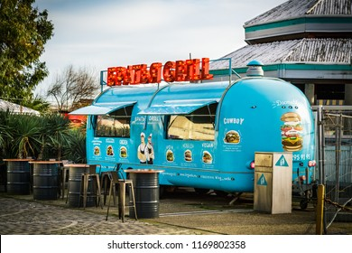 Sochi, Russia - March 12, 2018: Food Truck with burgers on wheels on street.