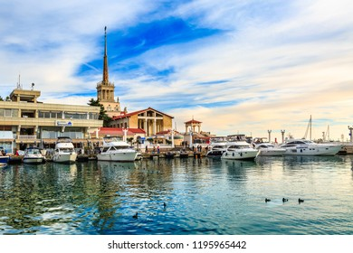 Sochi, Russia - March 12, 2018: Commercial sea port of luxury yachts, motor and sailing boats. Marina harbor in Black sea at sunset. Ducks on blue water.